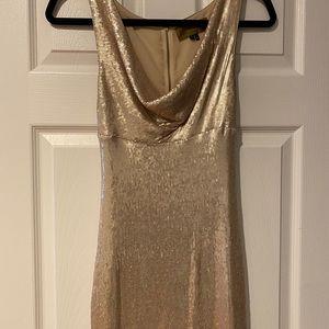 Nicole Miller gold sequin dress